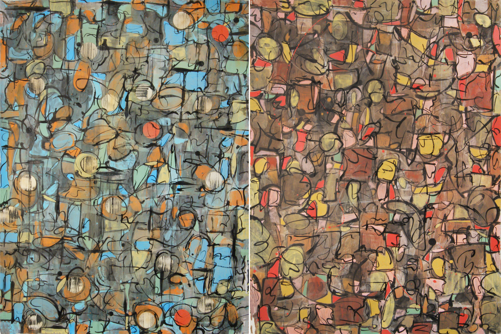 Diptych, Palimpsest Series, Rag Paper, Ink, Chalk Pastel, Acrylic
