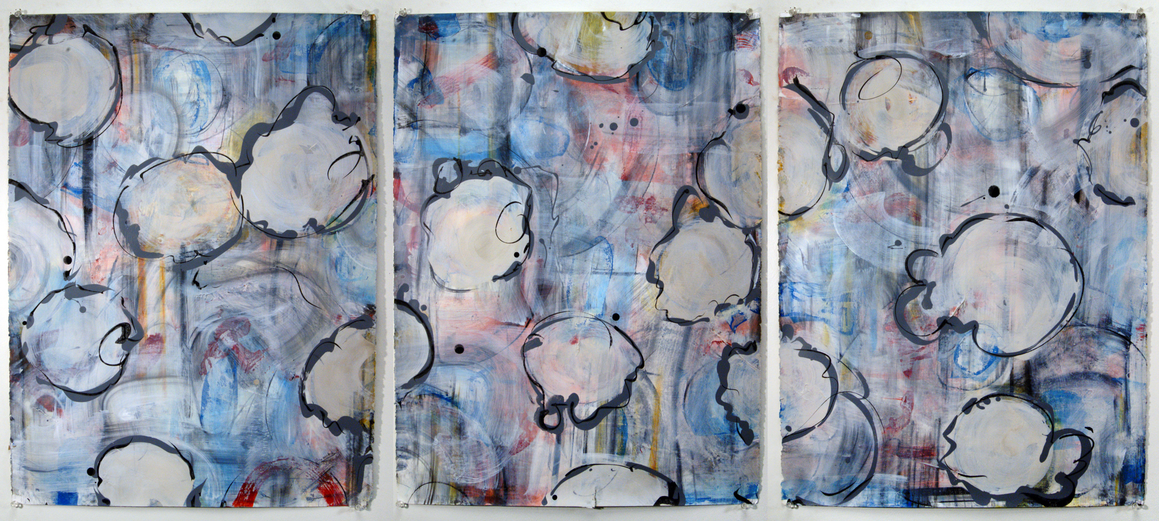 Triptych, Palimpsest Series, Rag Paper, Ink, Chalk Pastel, Acrylic